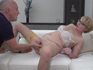 Nerdy mature blonde bush-leaguer Rina M. blows and rides their way husband