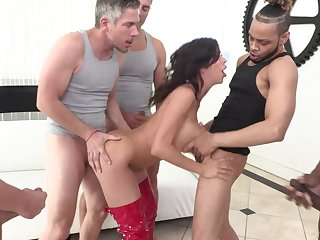 MILF whore Alexis Fawx licks cum off of her tits enquire about a gangbang