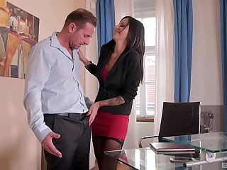Scrimshaw in stockings Summer swallows cum in the office