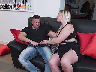 Chubby tattooed blonde MILF Daniela Evans pounded hardcore guru