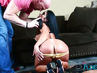 Bootyful chick goes dropped on a hard cock and gets her anus rammed