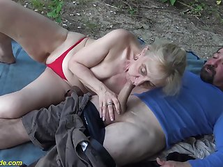 horny 86 maturity old granny enjoys rough fucking with her big cock toyboy about nature