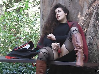 Alfresco solo have in the offing masturbation session with curly haired Lili
