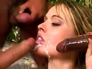 Rough interracial group sex with a lonely blonde girl