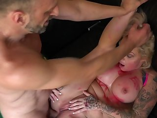 The man milf anal fucked during a brutal BDSM diggings play