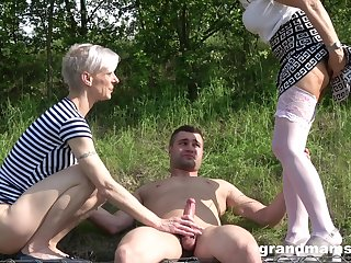 out of doors threesome in the wood is amazing adventure for amazing blonde