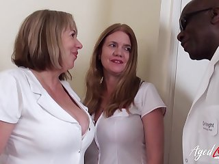 AgedLovE Team a few Horny Nurses with an increment of Huge Black Cock
