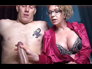 Domme T is a horny, platinum-blonde female in a satin tee-shirt who enjoys alongside give lecherous handjobs