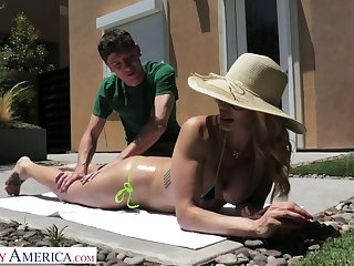 Blond cougar Claudia Valentine seduces her nerdy stepson with an increment of bangs his like a sex-starved hooker