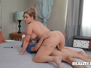 Voluptuous wife rides step son like it's the end of the world