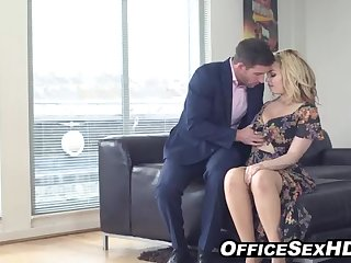 Brim-full towheaded in pantyhose nails her boy after work